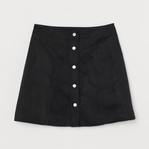 H&M Black Faux Seude Snap Mini Skirt, 10